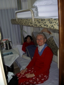 Our Soft Sleeper Compartment - with four bunks and TV's