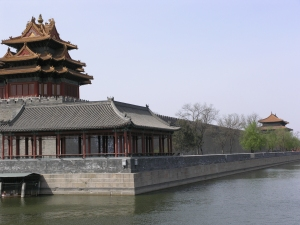 Moat and watchtower at the NW corner of the Forbidden City
