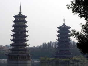 Twin pagodas on the lake in Guilin