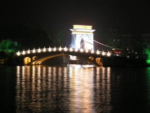 Highlighted bridge in the park in the centre of Guilin